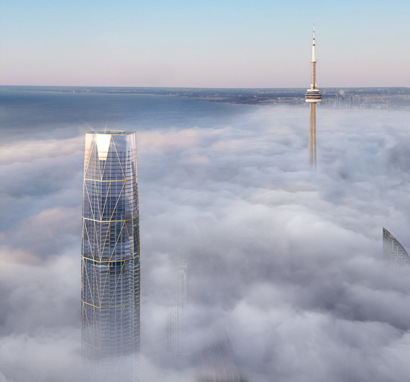 Rendering of skyscraper above the clouds in Toronto, across from CN Tower