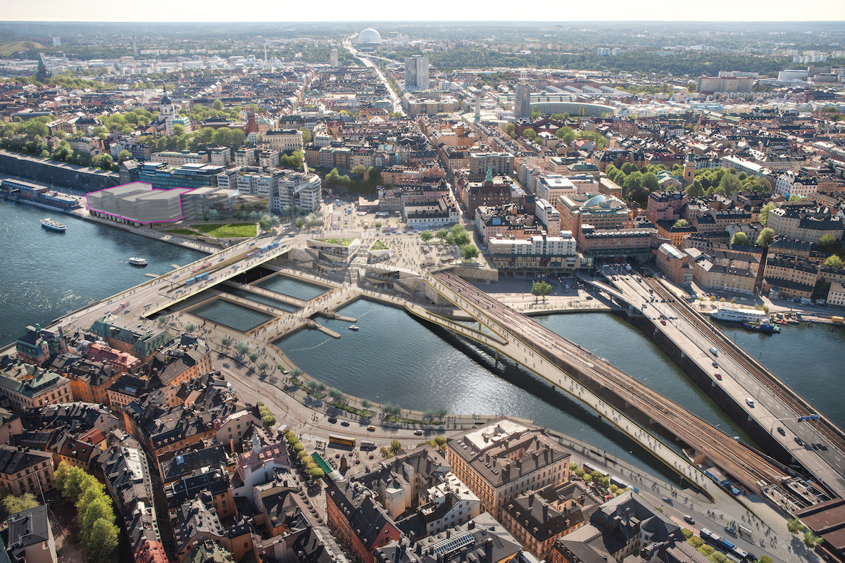 an overhead view of Stockholm's redeveloped Slussen district
