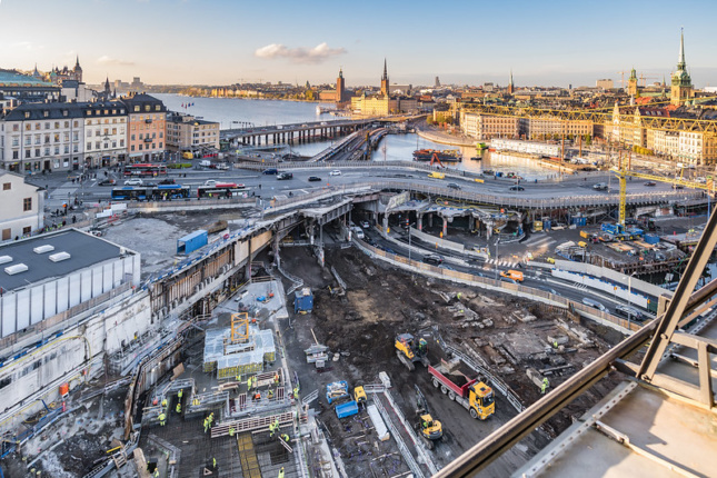 View of Slussen regeneration project, Stockholm, where the new Nobel Center will be located