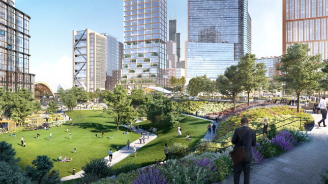 Rendering of a park along the riverfront in Chicago with towers in the background