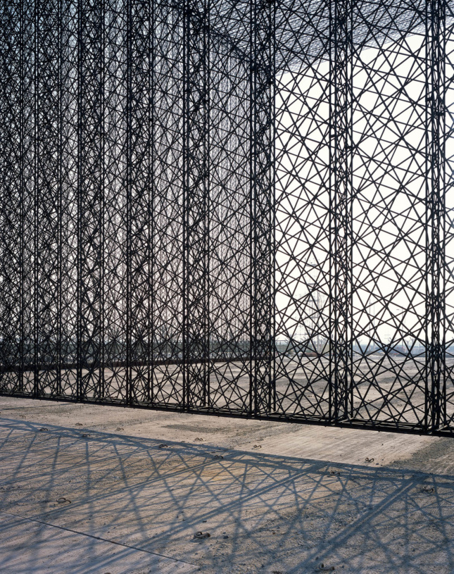 A freestanding lattice of wires with the sun shining through