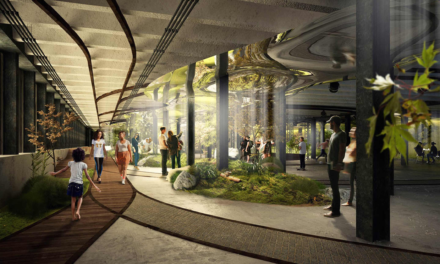 conceptual illustration of underground park in Manhattan, with solar tubes to bounce light around