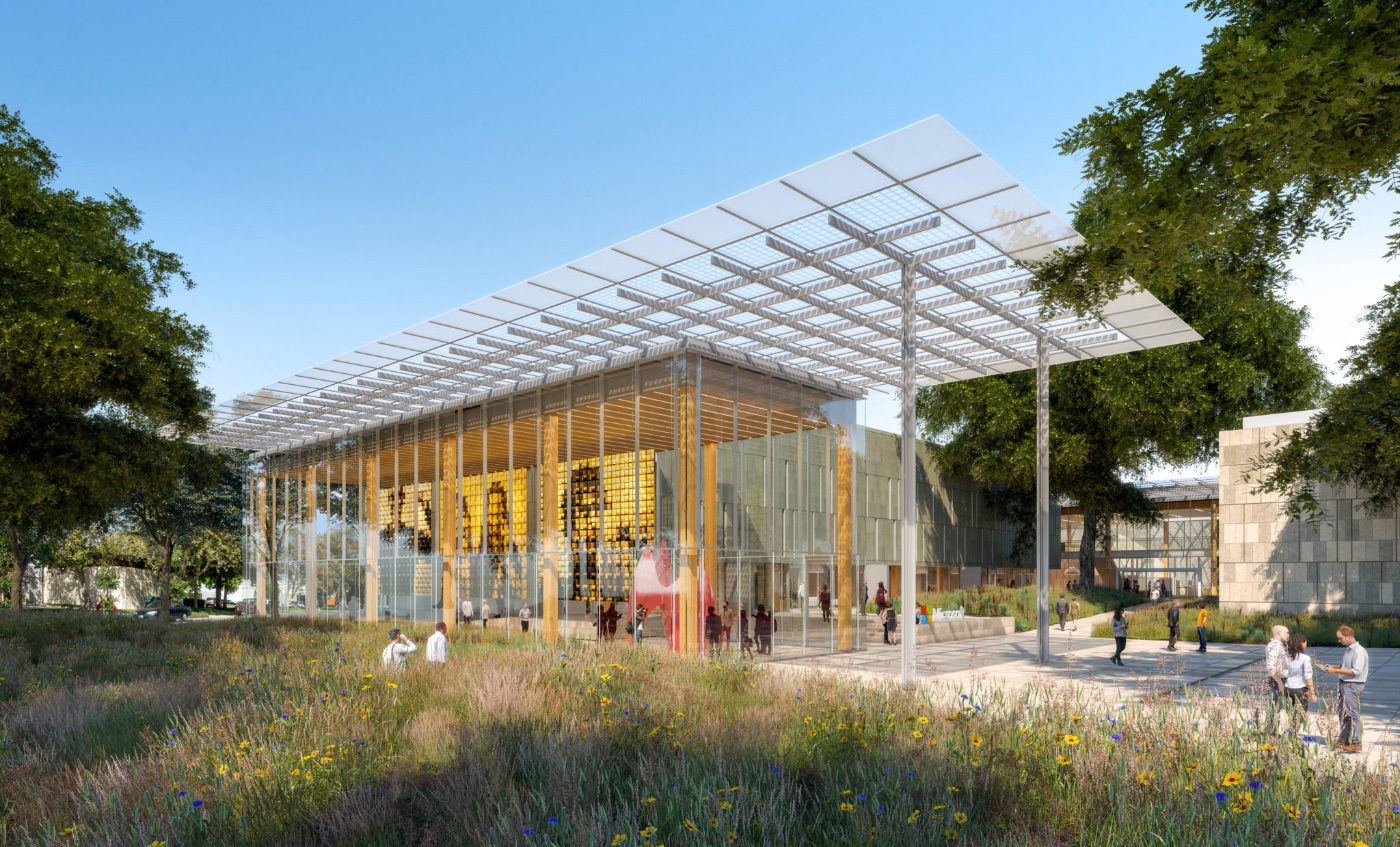 Rendering of a timber office building for Microsoft with a hanging pergola