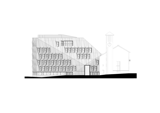 Drawing of the Bodo town Hall highlighting relationship between facade plans and rooflines
