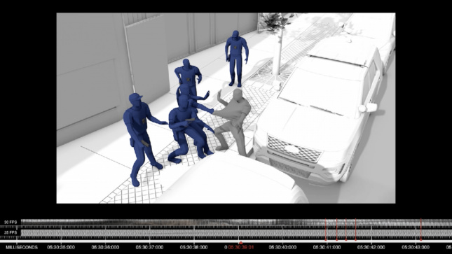 A render of five police officers attacking a gray figure. Below is timing data.