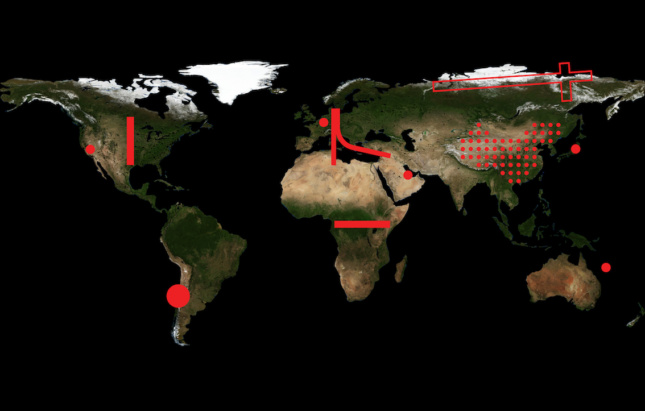 A map of the world colored in red lines for Rem Koolhass's countryside show