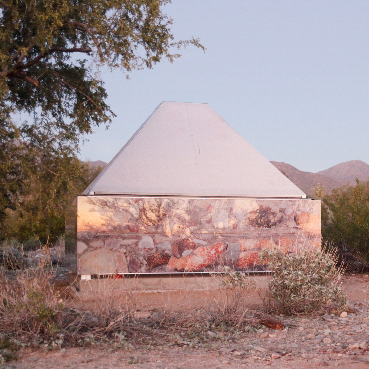 Photo of a structure built in the desert at Taliesin