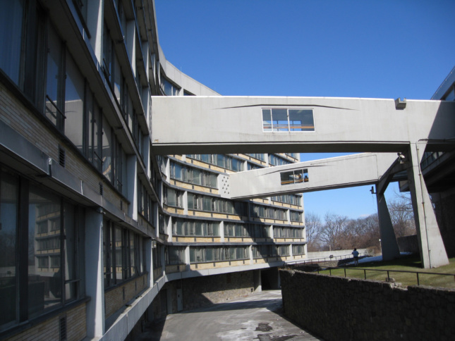 Sky bridges connecting to a lengthy dormitory
