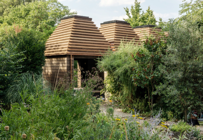 Image of the Cork House surrounded by vegetation