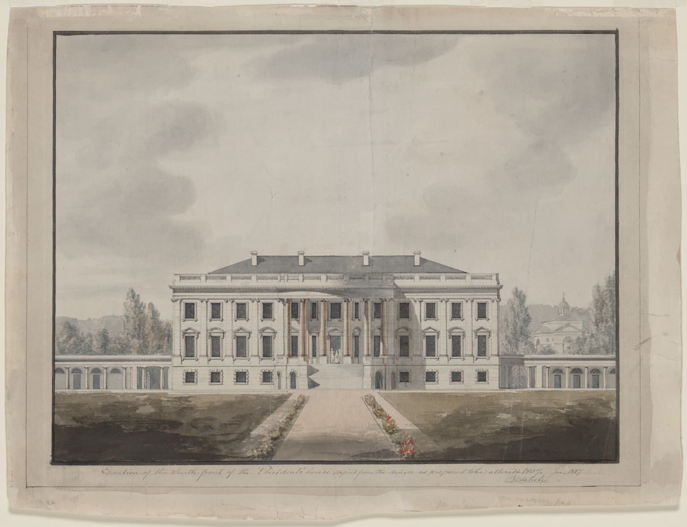 A plate engraving of the White House, realized in the neoclassical style