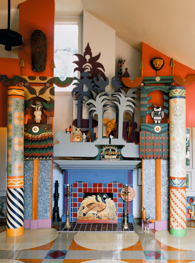 a colorful postmodern residential interior