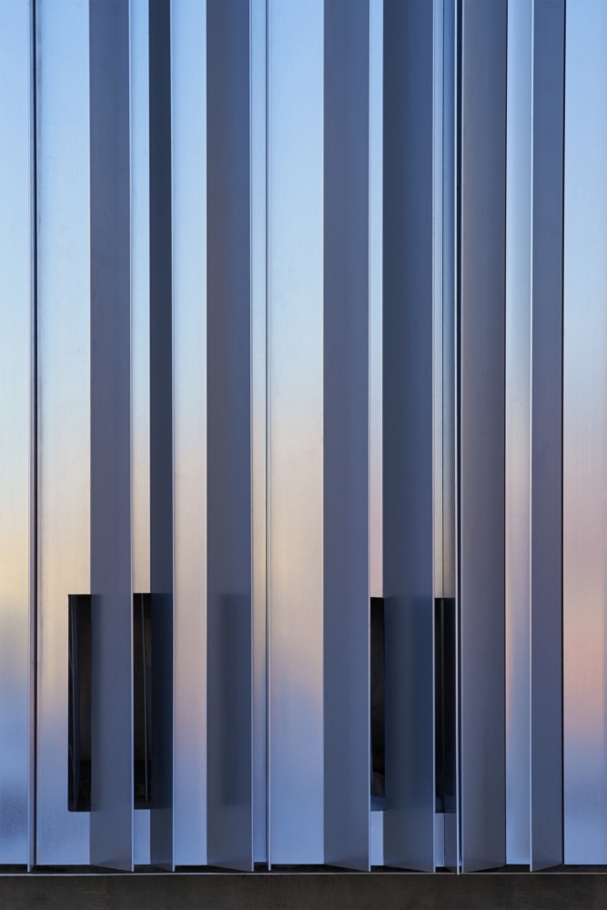 A vertical array of aluminum fins