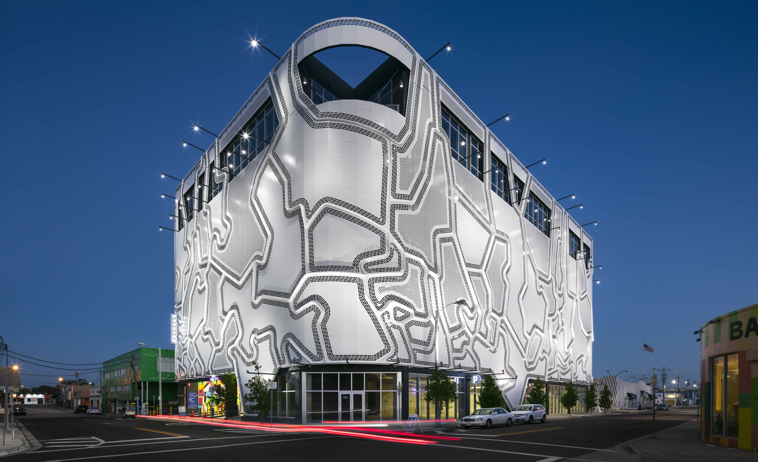 Exterior image of Wynwood Garage at night