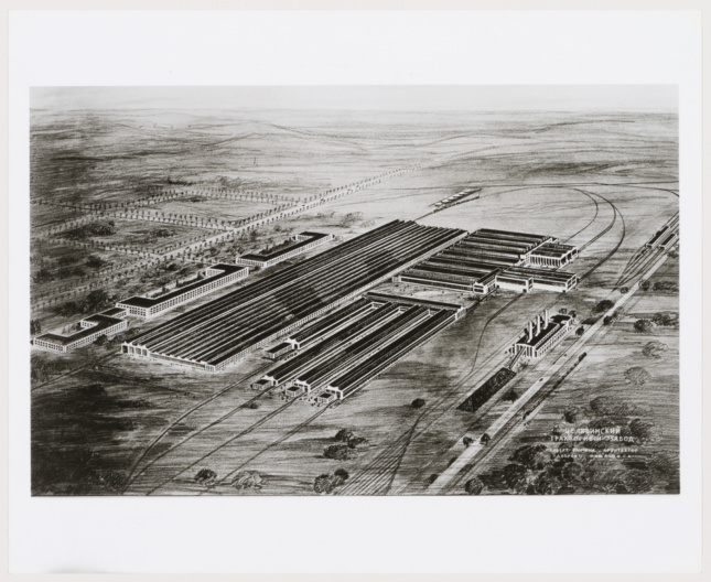 Pencil drawing of a flat, rail yard-like tractor plant in Russia