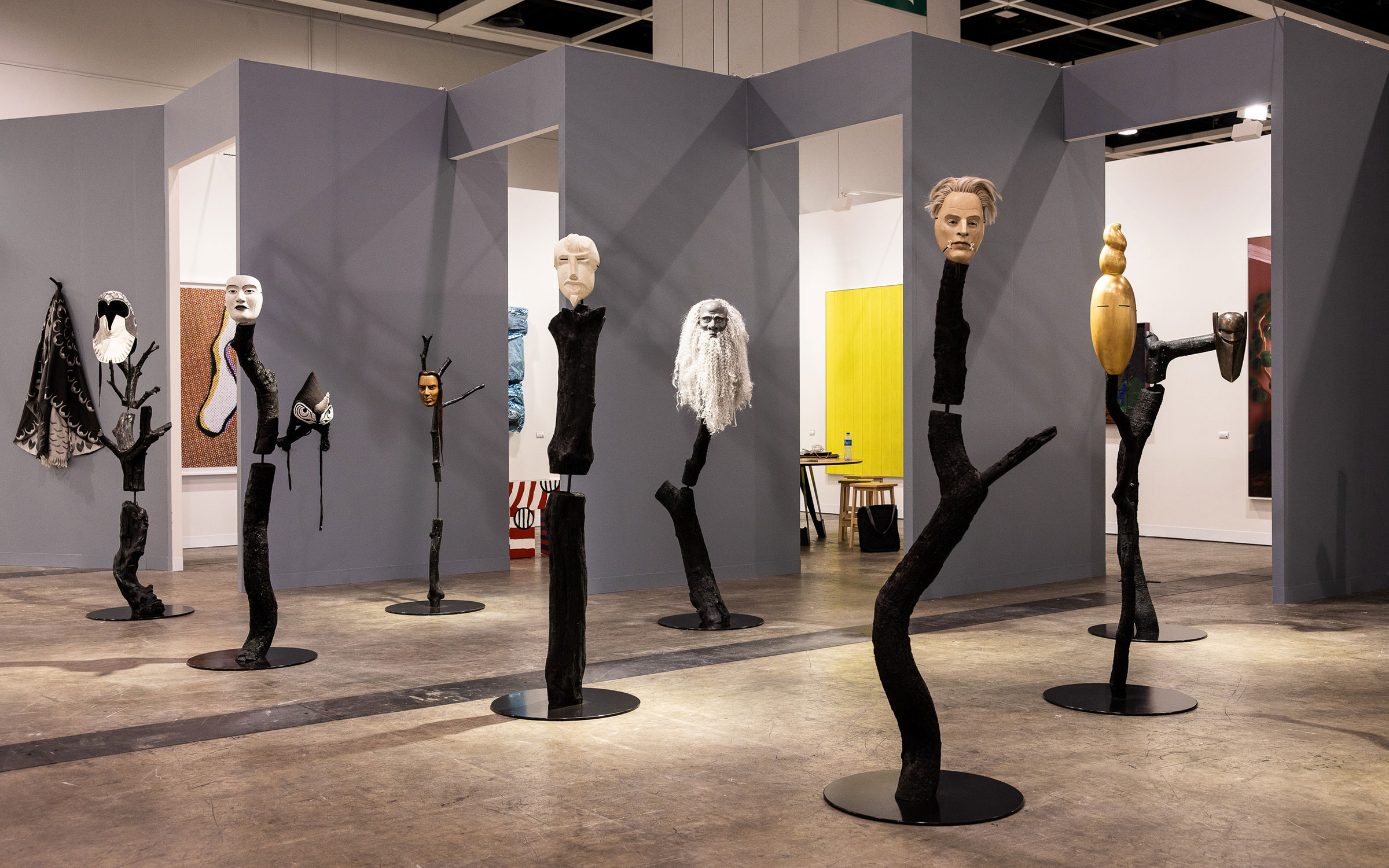 Eight sculptures in a room on display for Art Basel Hong Kong