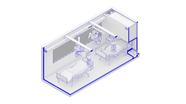 Side diagram of a CURA shipping container turned into a 2-bed hospital