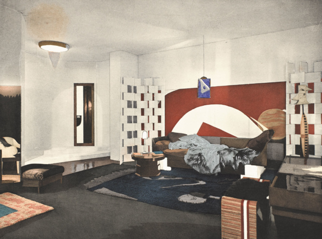 Drawing of an Eileen Grey-designed bedroom