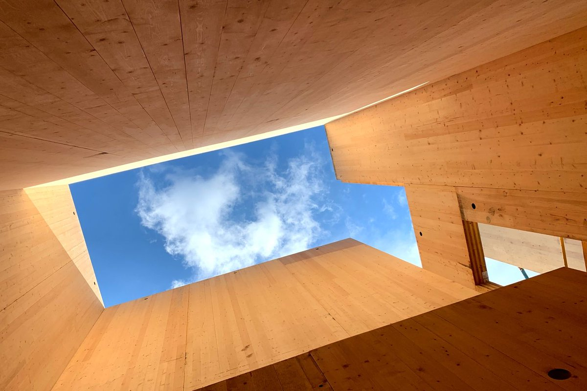 Looking upward through plywood panels to the sky