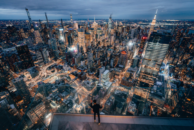 a view from a 100th observation deck in Manhattan