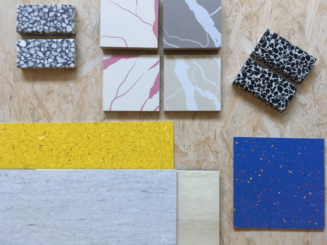 Material palette showing terrazzo on OSB background
