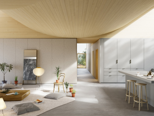 Interior rendering of a white home designed by WOJR with a sloping roof
