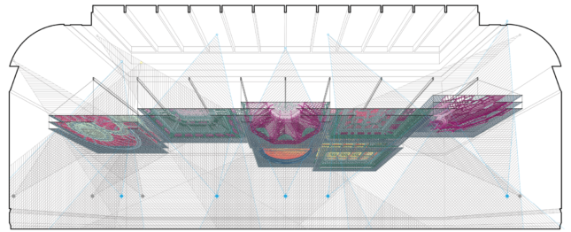 A side diagram showing a ceiling installation