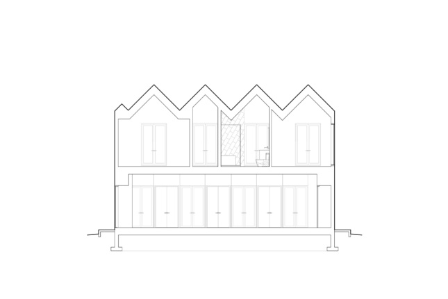 Side drawing of a house with peaked roof