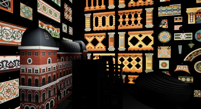 """A 3D model of a a building with various facade and interior details flat agains black """"walls."""""""