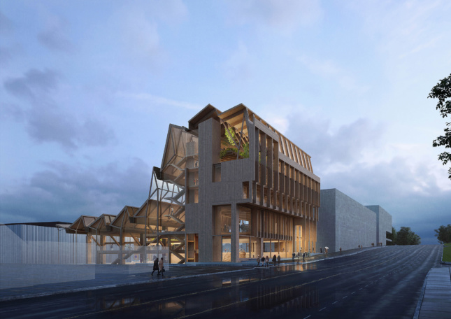 People in front of wooden building design by Grafton Architects