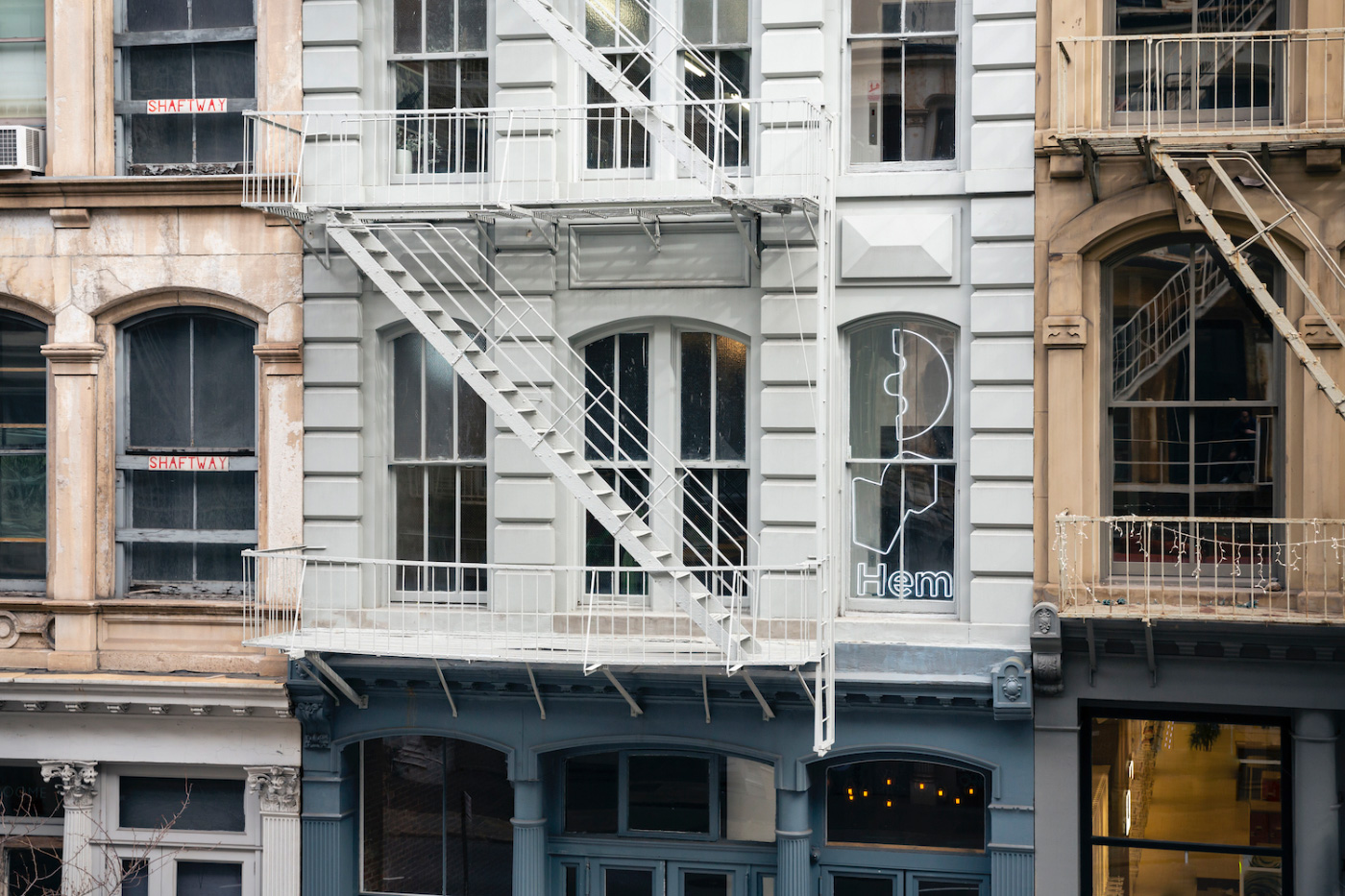 The exterior of a cast iron building in New York, home of the new Hem showroom