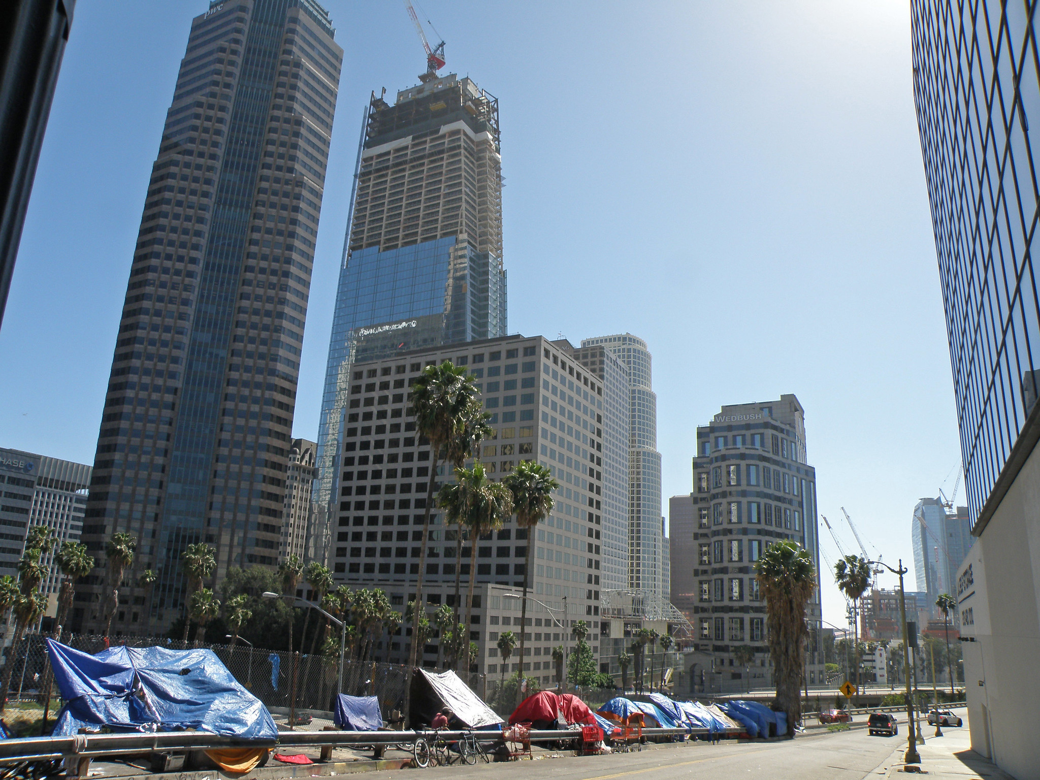 tents against the los angeles skyline