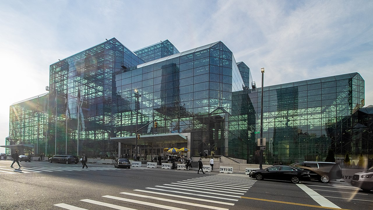 a glass-walled convention center, the Jacob Javits center