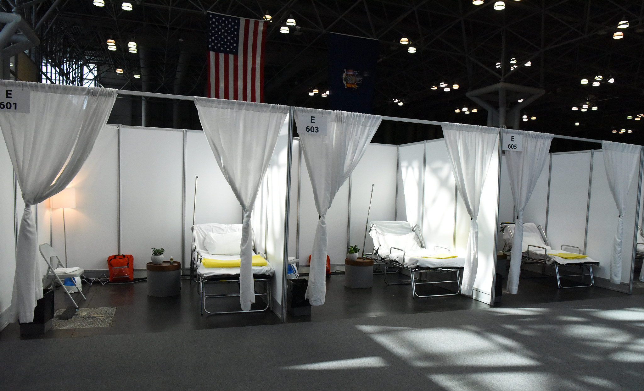 a makeshift coronavirus hospital room in the converted Jacob Javits convention center
