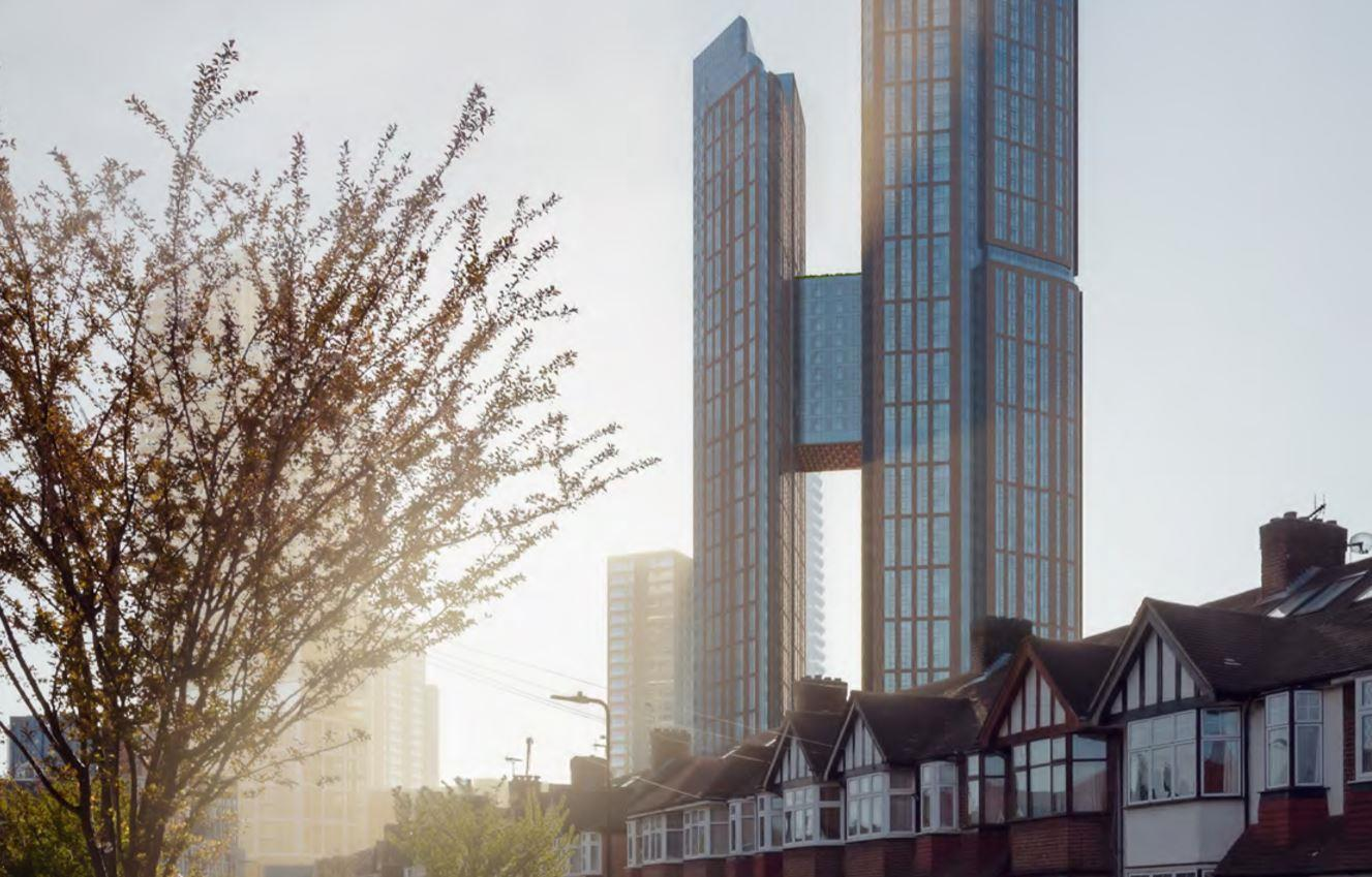 a rendering of two connected skyscrapers looming over a residential street