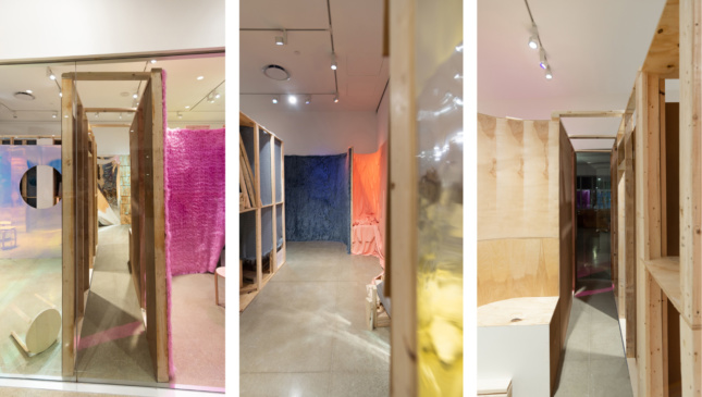 A triptych of gallery installation shots
