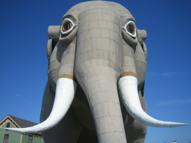 frontal view of elephant-shaped building