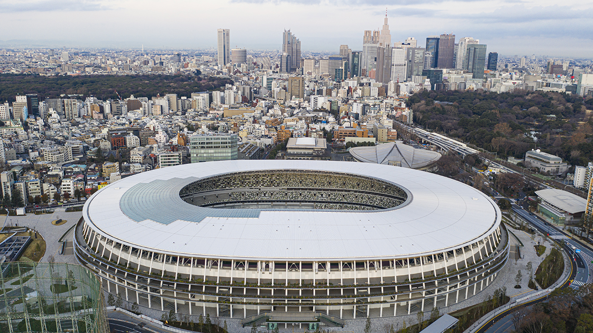 View of the Kengo Kuma-designed National Stadium