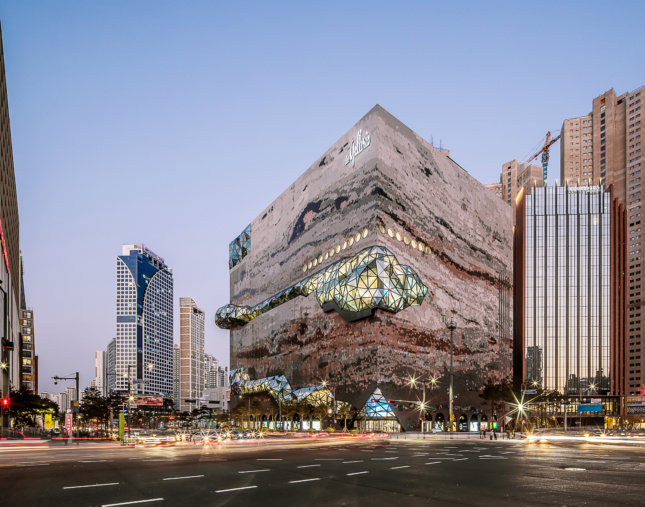 the exterior of a wild-looking department store in South Korea