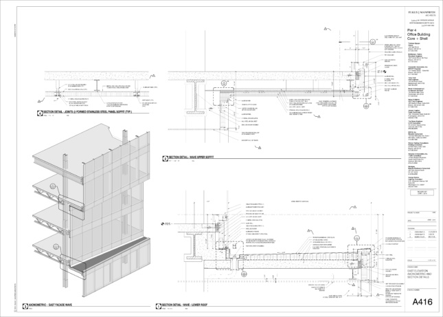 Diagram of the facade focusing on detailing of shifting floor plates