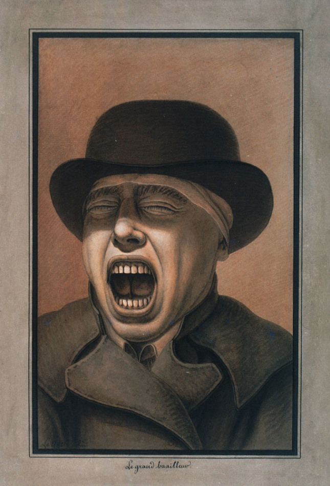 Self-portrait by Jean-Jacques Lequeu titled The Great Yawner