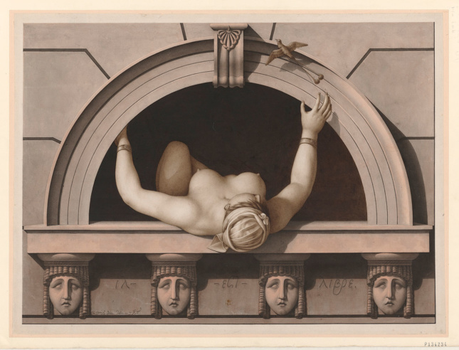 Architectural rendering of a topless woman leaning out of a window