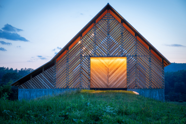 Dusk image of the River Road Barn