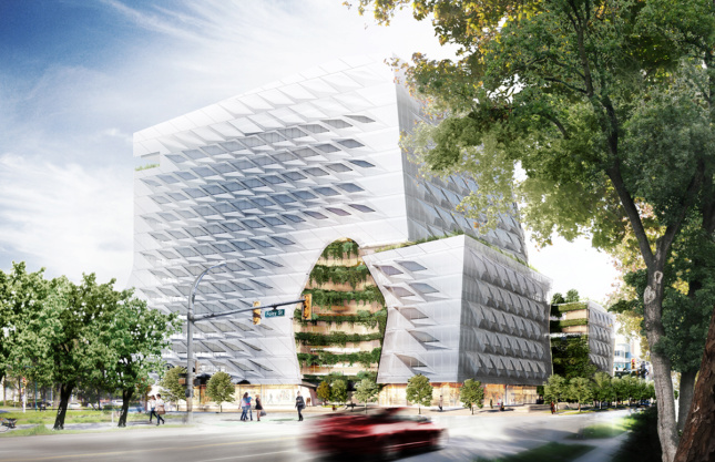 Rendering of 13-story headquarters with glass brise-soleil facade and public plaza, for lululemon