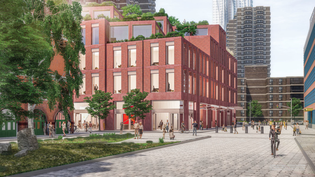 Perspective rendering of brick platform levels of South Street Seaport development.