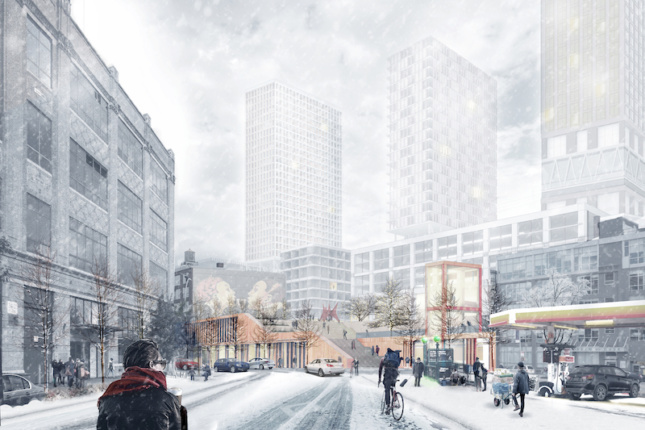 rendering showing a snowy day in NYC with pronged towers on a base in the background