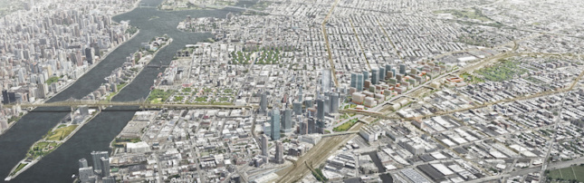 aerial view of proposed development in queens, nyc, showing Sunnyside Yard, a long strip of greenway