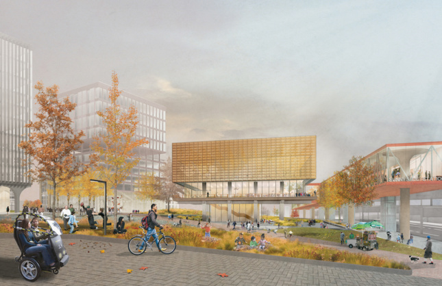 rendering illustrating a proposed civic hub in queens showing people walking around Sunnyside Yard