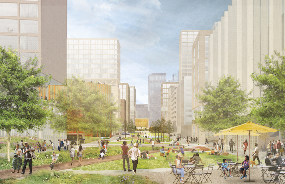 rendering of a proposed park in Sunnyside Yard in NYC