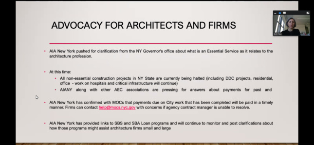A slide detailing confusion over what the New York construction ban entails