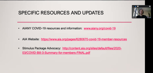 Screenshot directing people to AIA resource pages